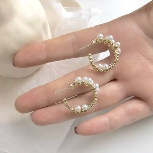 Gorgeous Faux Pearls Gold-plated Hoop Earrings